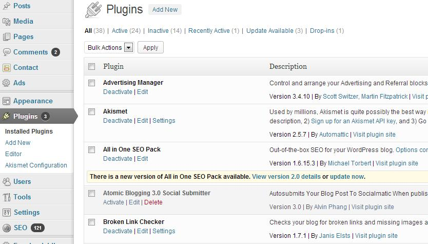 WordPress plug-in update notification