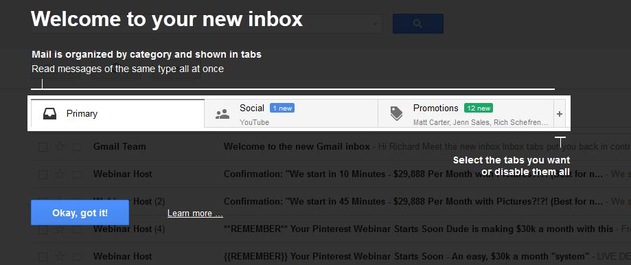Gmail new inbox format